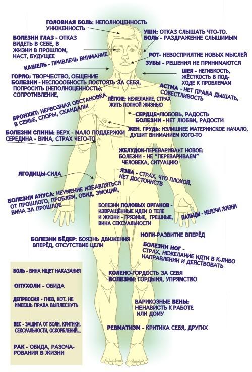 таблица психосоматических